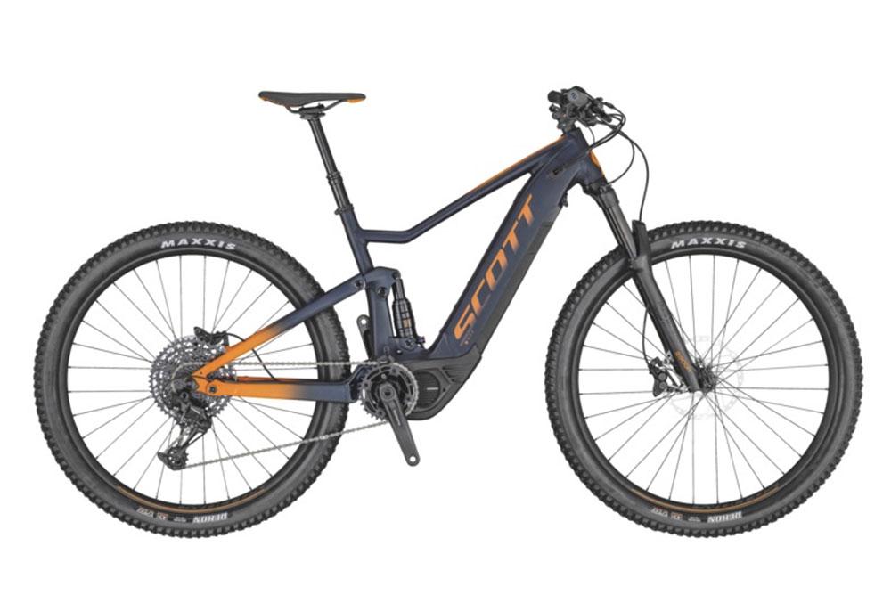 mountain-bike-elettrica-grigia-con-logo-scott-arancione