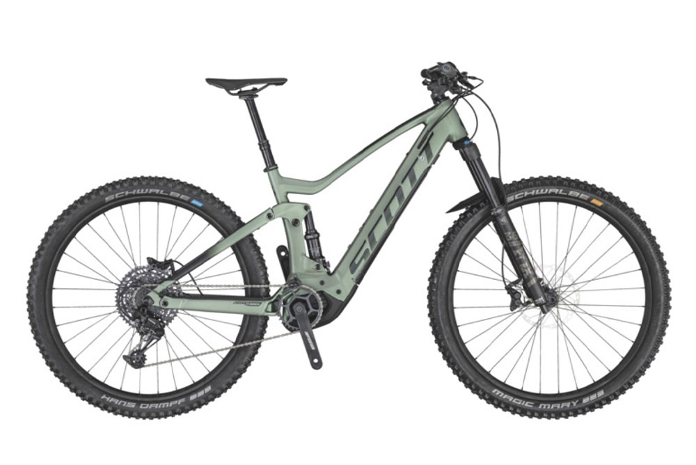 mountain-bike-elettrica-verde-con-logo-scott-nero